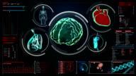 Scanning brain, heart, lungs, internal organs in digital display dashboard. video