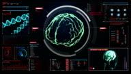 Scanning Brain in digital display dashboard. X-ray view video