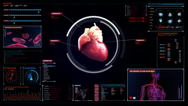 Scanning heart. Human cardiovascular system. medical technology. video