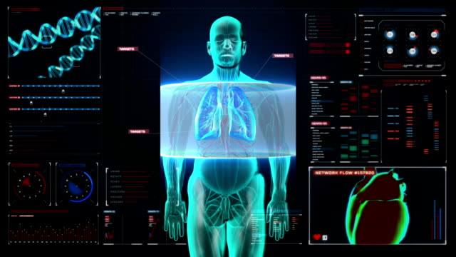 Scanning Human lungs, Pulmonary Diagnostics in digital display dashboard. video
