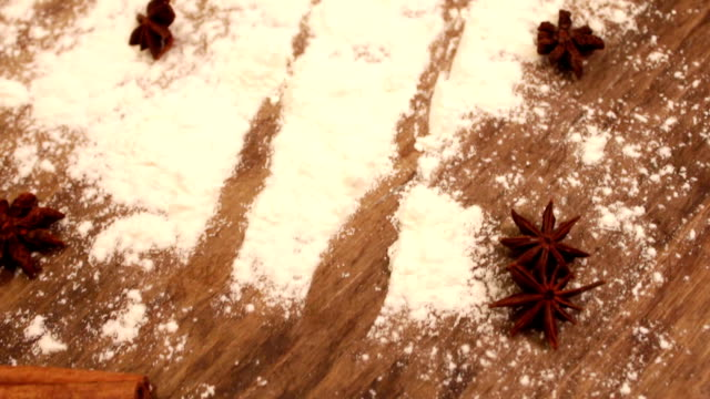 Scattered flour on the table video