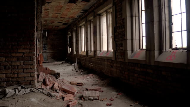 CLOSE UP: Scattered remains of destroyed and abandoned children's asylum in USA video