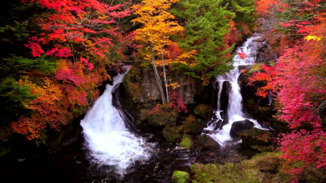 Scenary of Ryuzu waterfall in autumn, Nikko, Japan video