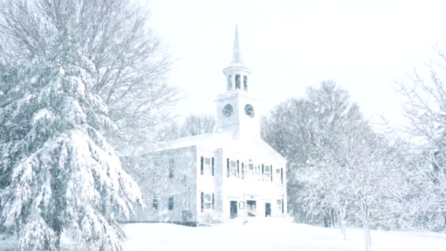 Scene Of Church In Snowfall video