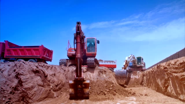 3 scene of Excavator construction with color correction video