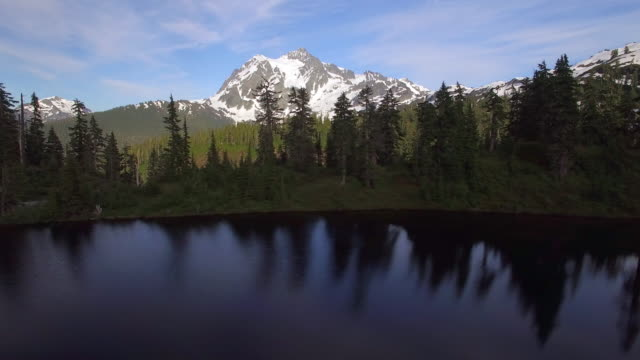 Scenic Aerial Pan Across Forest Lake with Snowy Mountain Peak Background video