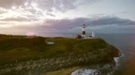 Scenic aerial view of Montauk Lighthouse at sunset. Long Island, New York State, USA video
