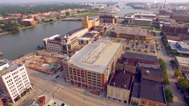 Scenic Downtown Green Bay Wisconsin Aerial Flyover Tour video