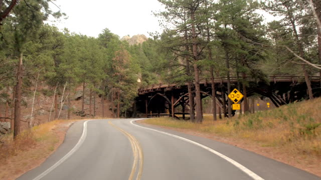 FPV: Scenic drive under wooden pigtail bridge on Iron Mt Highway in Black Hills video