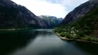 Scenic flight above Hardanger fjord in Norway, aerial footage. video