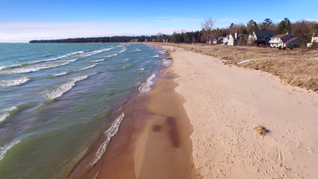 Scenic flight over the shores of Lake Michigan in Springtime video