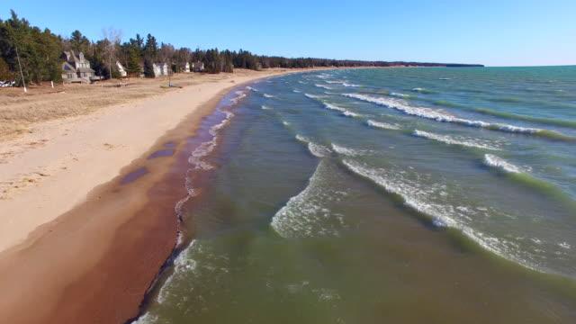 Scenic flight over the wavy shores of Lake Michigan video