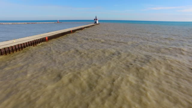Scenic Flyover of Lighthouse on Lake Michigan video