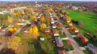 Scenic Flyover of Small Town USA in Autumn video
