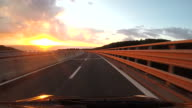 Scenic highway at sunset in Tuscany video