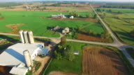 Scenic Rural Midwest Heartland Flyover, Landscape With Farms, Silos video