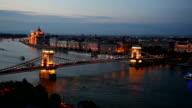 Scenic view at The Szechenyi Chain Bridge in Budapest, Hungary video