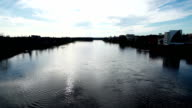 Scenic view at wide river from the bridge video