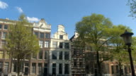 CLOSE UP: Scenic view of stunning traditional building facades in Amsterdam city video