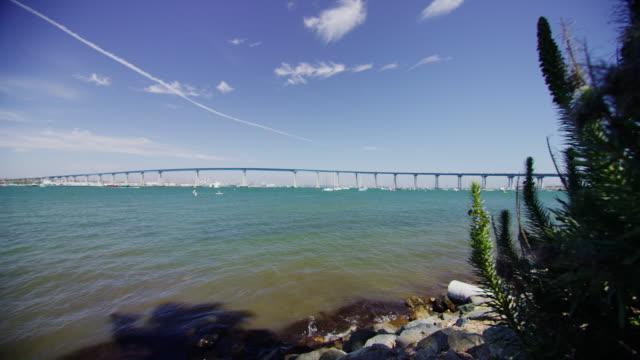 Scenic wide-angle panoramic video of Coronado Bridge in San Diego Bay, California. Stock slow motion color video shot 6k by RED Dragon digital camera. video