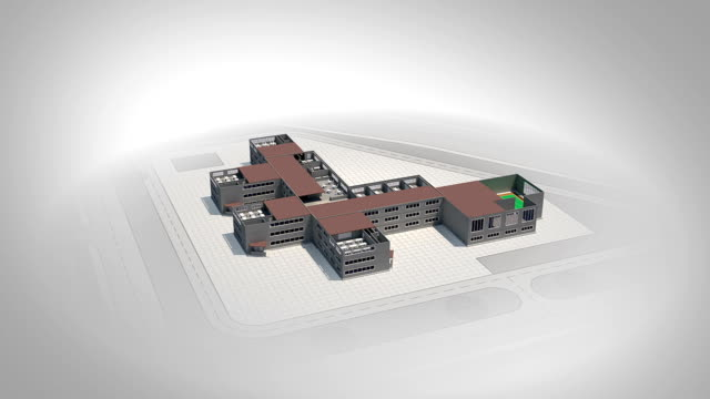 Schematic cross section of school in 3d video