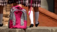 School Backpack And Students Walking video