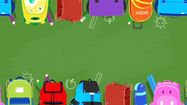 School bags sliding on chalkboard background video