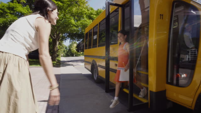School Bus Student Getting Out 4K 4:2:2 Slow motion video