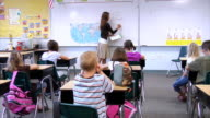 School children raise hands video