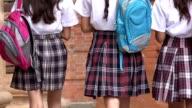 School Girls Walking With Backpacks video