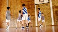 School kids playing basketball video