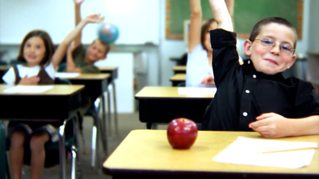 School students raise hands video
