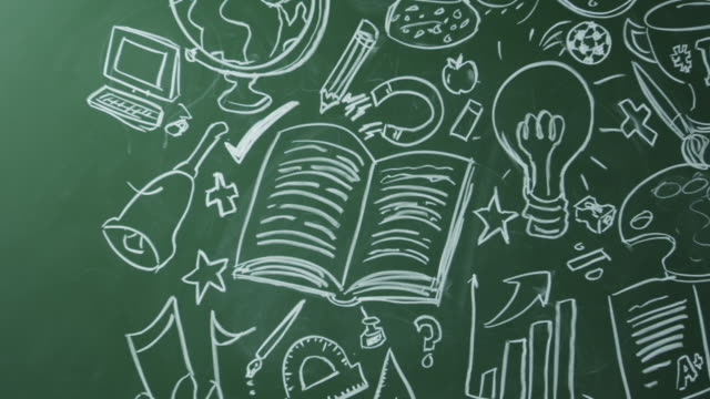 School subjects drawn on chalkboard, pan left to space, shot on R3D video