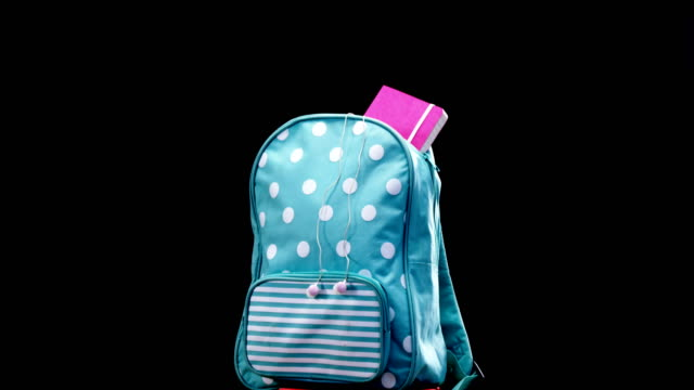 Schoolbag on book stack video