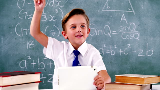 Schoolboy raising hand while using digital tablet in classroom video
