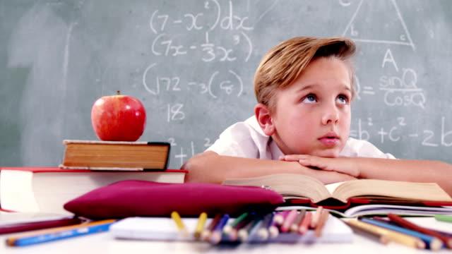 Schoolboy reading book in classroom video