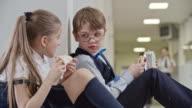 Schoolchildren Chatting on Lunch Break video