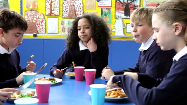 Schoolchildren Sitting At Table Eating Lunch video