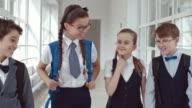Schoolchildren Talking After Lessons in Hallway video