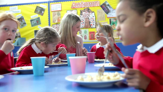 Schoolchildren With Teacher Sitting At Table Eating Lunch video