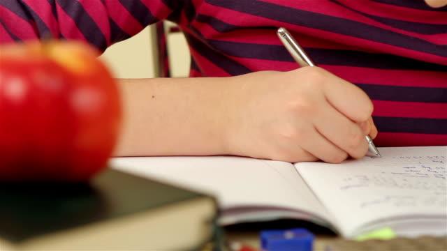 Schoolgirl doing her homework video