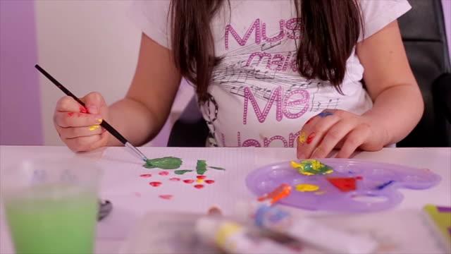 Schoolgirl painting with watercolor video
