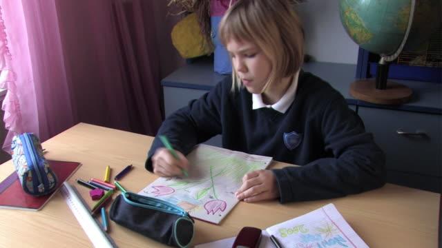 Schoolgirl Sketching video