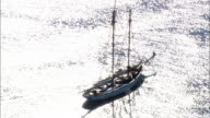 Schooner Leaving Harbour  - Aerial View - Massachusetts,  Bristol County,  United States video