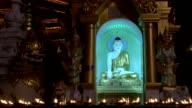 Schwedagon pagoda at night video