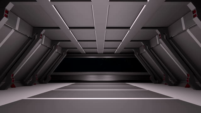 Sci fi corridor with an animated wall opening and looking into the space video