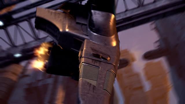 Science-fiction spaceship landing video