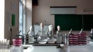 Scientific education  laboratory slider dolly shot panning video