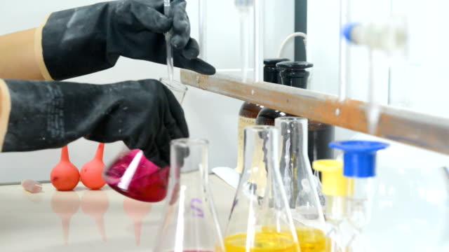 Scientist doing chemical liquid test video