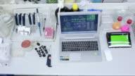 Scientist using computer, microscope and molecule model. video
